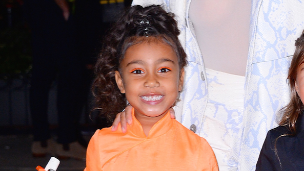 North West, Smiling, New York City, Orange Dress