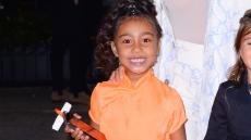 North West, Smiling, New York City, Orange Dress