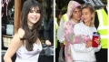 Selena Gomez, Pink Slip Dress, Justin Bieber, Hugging, Hailey Baldwin, Split Image