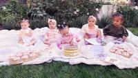 Kardashian Cousins Eating Cake On Blanket