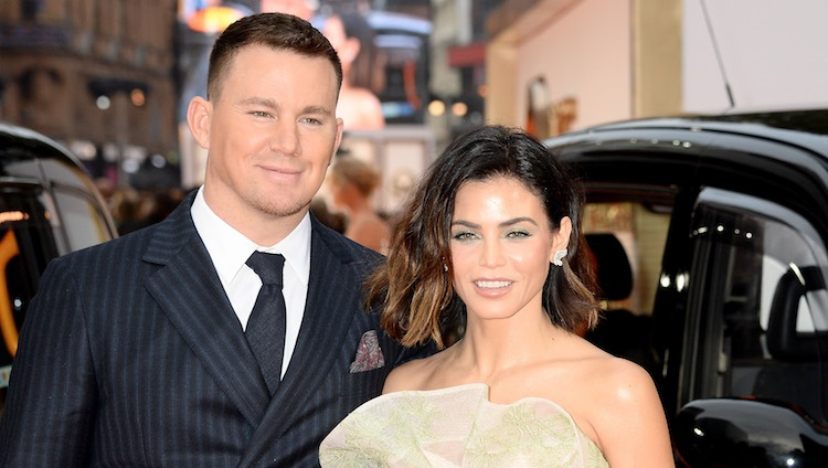 Jenna Dewan and Channing Tatum together wearing suit and dress