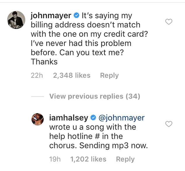 Halsey and John Mayer chat on Instagram