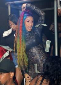 Cardi B with rainbow hair