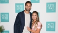 Jessie James Decker, wearing a pink outfit, with husband, Eric Decker