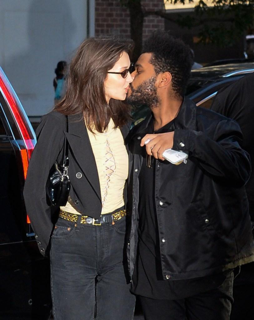 The Weeknd Bella Hadid kissing