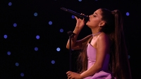 Ariana Grande Singing In Purple Dress