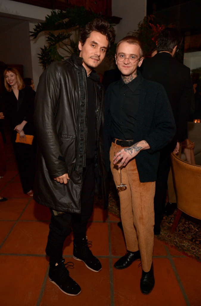 John Mayer, GQ Men of the Year Party, Leather Coat, Black Pants, Posing With Friend