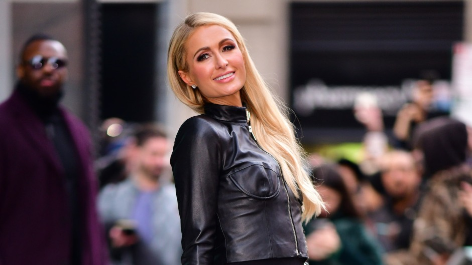 Paris Hilton wearing a leather jacket in NYC