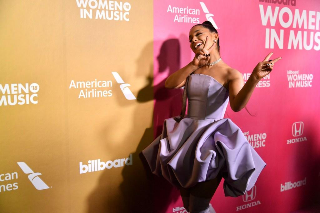 Ariana Grande Billboard speech purple loofah dress