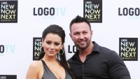 JWoww with Roger Mathews wearing black at an event