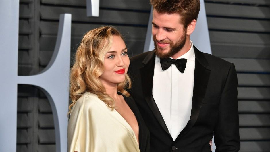 Miley Cyrus, Liam Hemsworth, Tuxedo, Gold Dress, Smiling