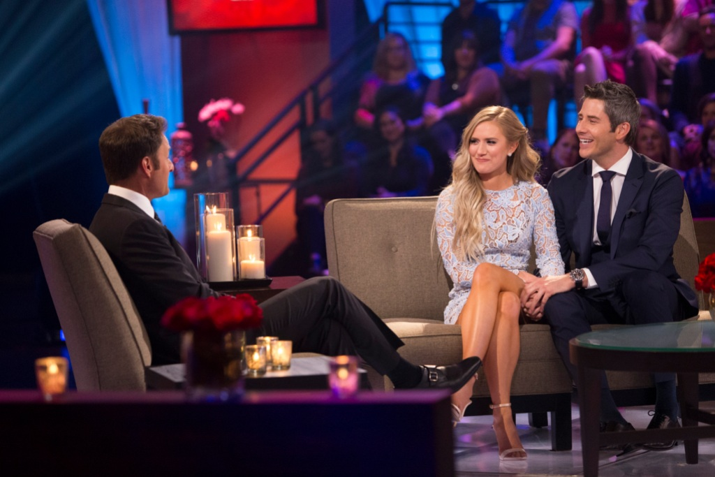 Chris Harrison, Arie, and Lauren Burnham all together at the After The Final Rose