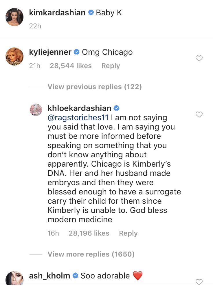 Khloe Kardashian comment on Kim Kardashian claps back on Instagram photo