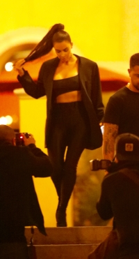 Kim Kardashian, Black Pants, Bra, Walking