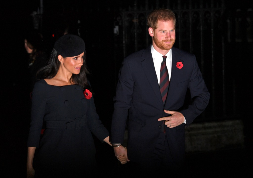 Prince Harry, Duke of Sussex and Meghan, Duchess of Sussex attend a service marking the centenary of WW1 armistice at Westminster Abbey