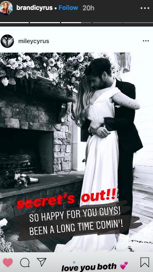 Brandi Cyrus Instagram story confirming Miley Cyrus and Liam Hemsworth marriage