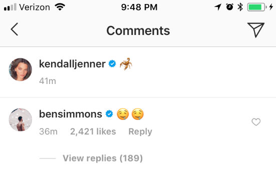 Ben Simmons, Instagram Comment, Two Drooling Emojis
