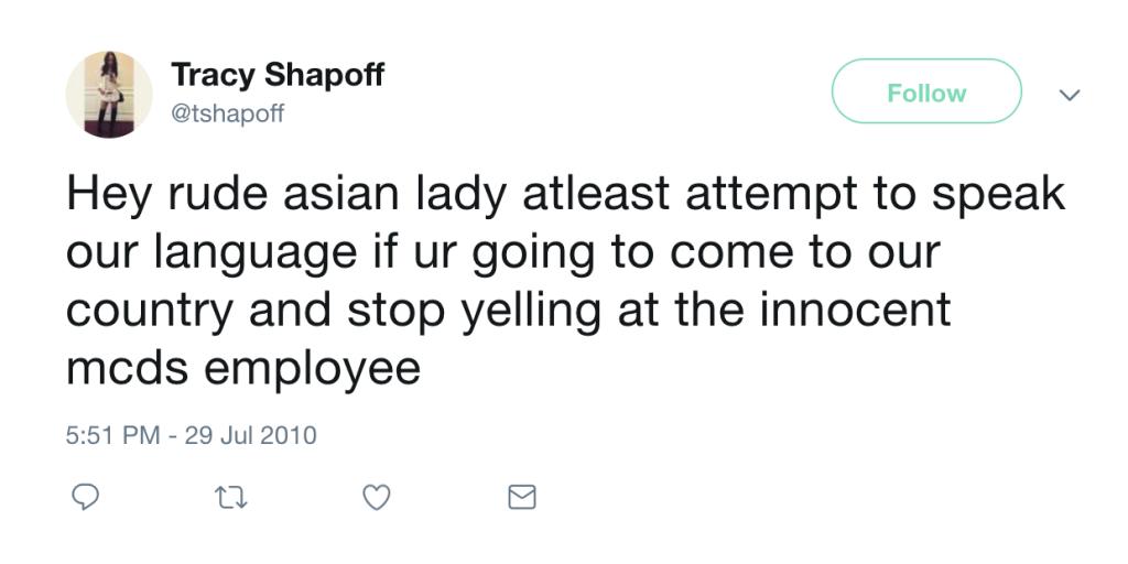 Tracy Shapoff Tweet
