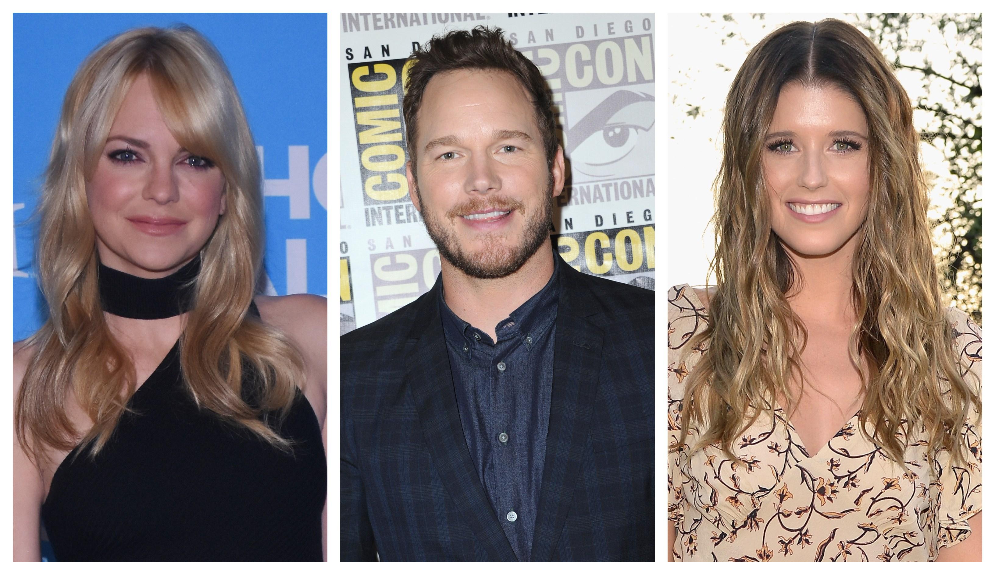 Split image of Anna Faris, Chris Pratt, and Katherine Schwarzenegger