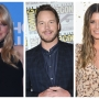 Split image of Anna Faris, Chris Pratt, and Katherine Schwarzenegger