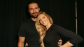 Brandon and Leah Jenner posing and smiling wearing all black outfits