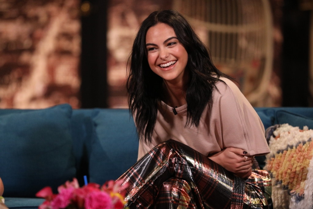 Camila Mendes on the set of Busy Tonight