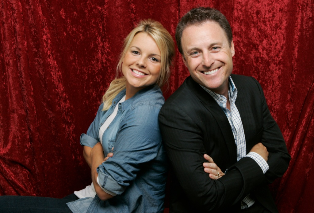 Ali Fedotowsky wearing a jean shirt with Chris Harrison