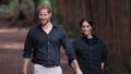Prince Harry and Meghan Markle, wearing dark colors and holding hands