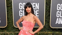 Jameela Jamil wearing a pink dress at the Golden Globes
