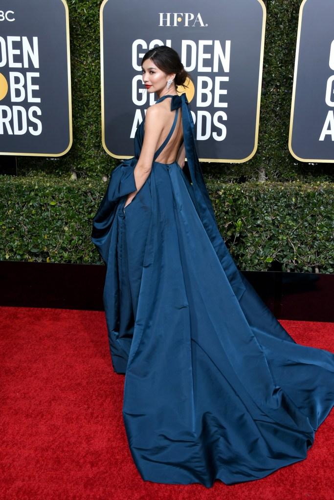 Gemma Chang wearing blue at Golden Globes