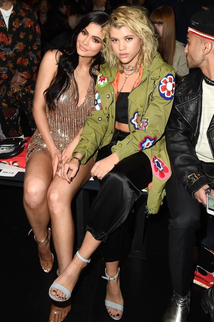 Kylie Jenner and Sofia Richie sitting together at New York Fashion Week 2017