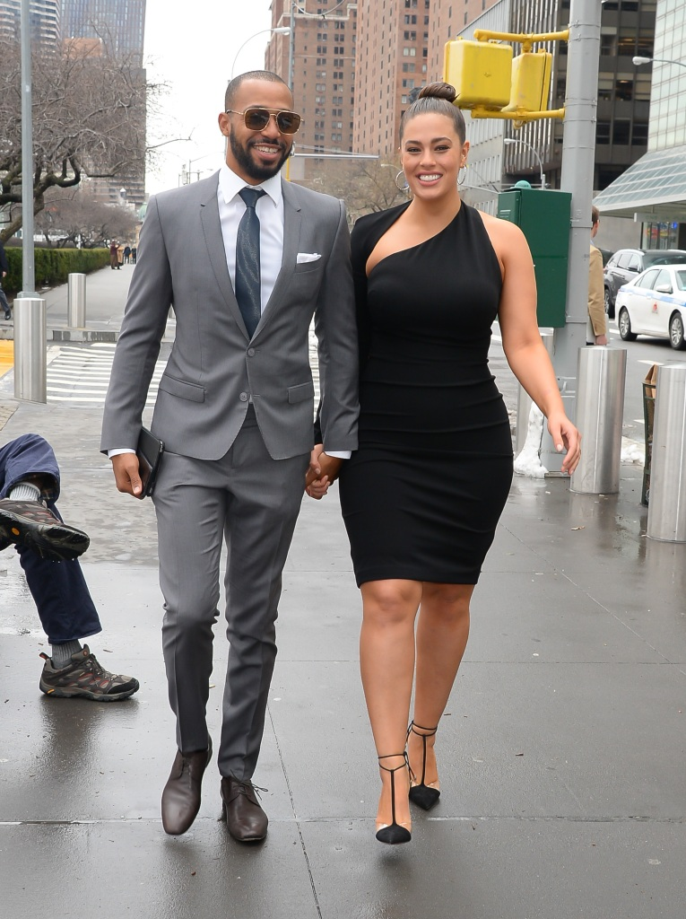 Ashley Graham and her husband Justin Ervin walking in NYC