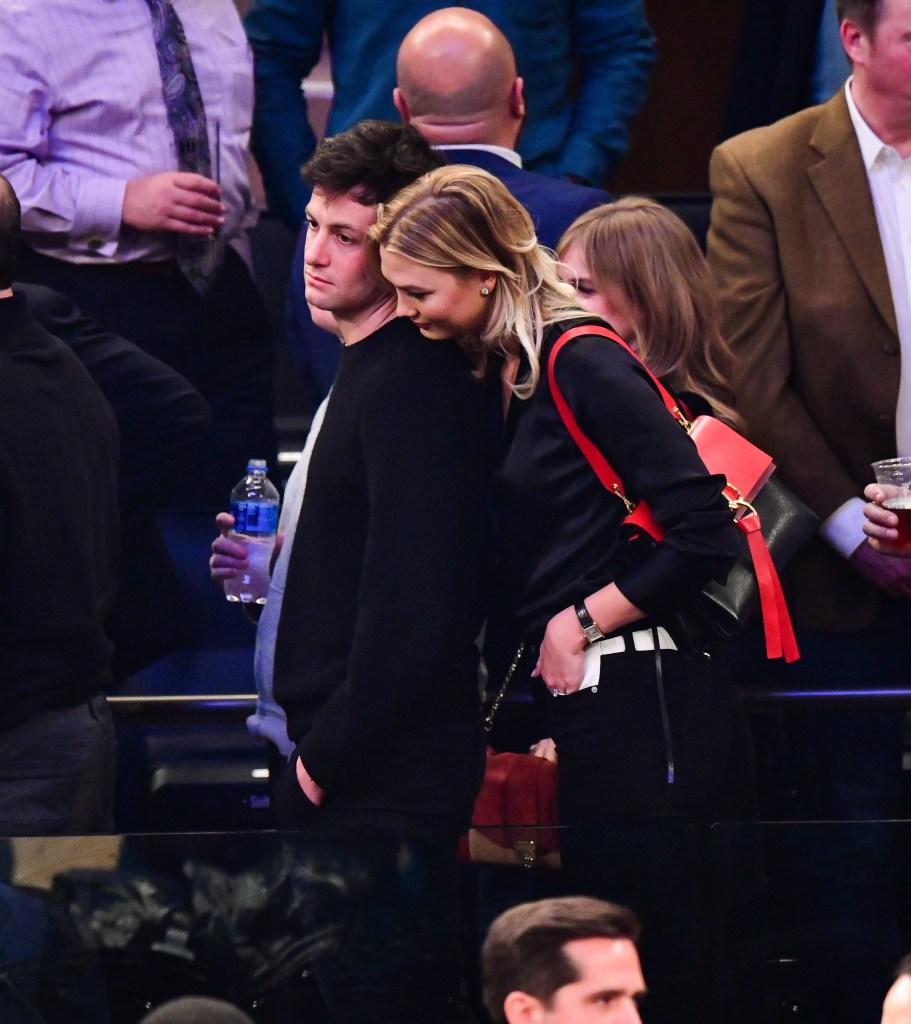 Joshua Kushner and Karlie Kloss attend Houston Rockets v New York Knicks game at Madison Square Garden on January 23, 2019 in New York City