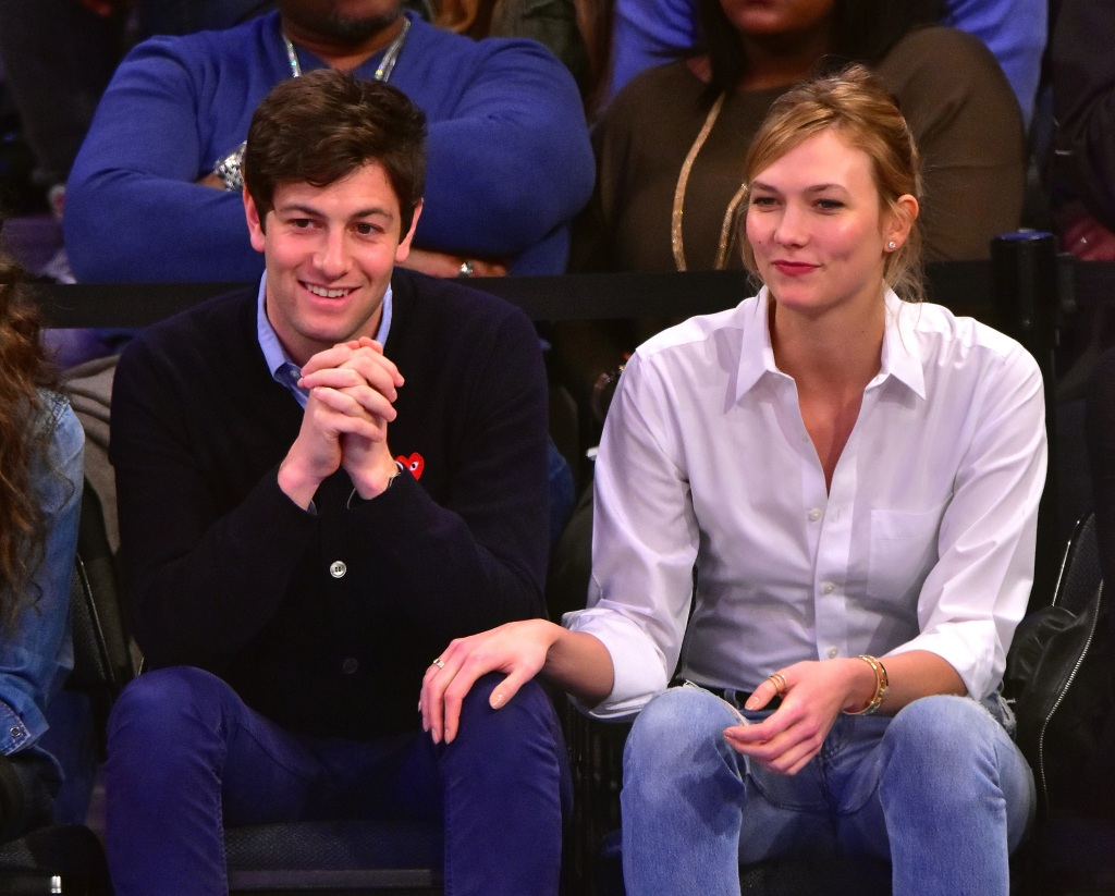 Joshua Kushner and Karlie Kloss attend the Cleveland Cavaliers vs New York Knicks game at Madison Square Garden on March 26, 2016 in New York City.