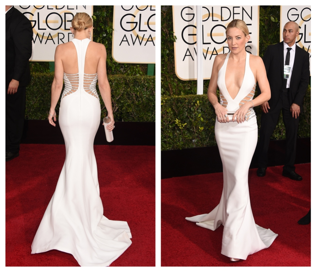 Kate Hudson, 2015 Golden Globes, White Versace Gown