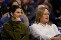 Kendall Jenner sitting with Ben Simmons' mom, Julie Simmons, at the Philadelphia 76ers game