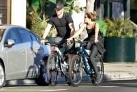 Chris Pratt and Katherine Schwarzenegger biking in August
