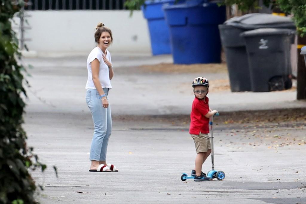 Katherine Schwarzenegger taking care of Chris Pratt's son in September