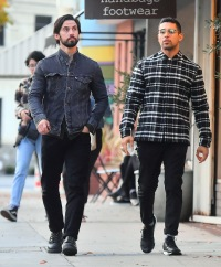Wilmer Valderrama and his bud Milo Ventimiglia step out to lunch together.
