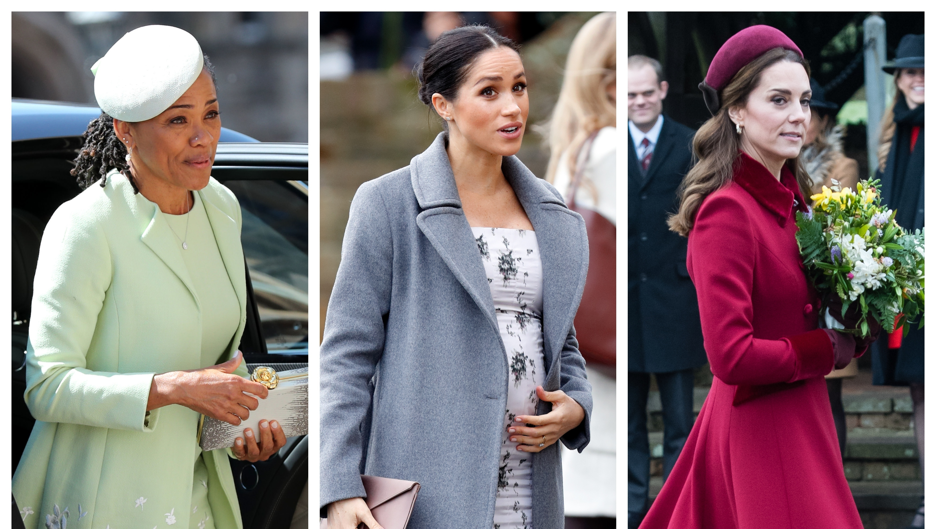 Doria Ragland, Green Dress, Meghan Markle, Pregnant, Kate Middleton, Red Coat, Split Image