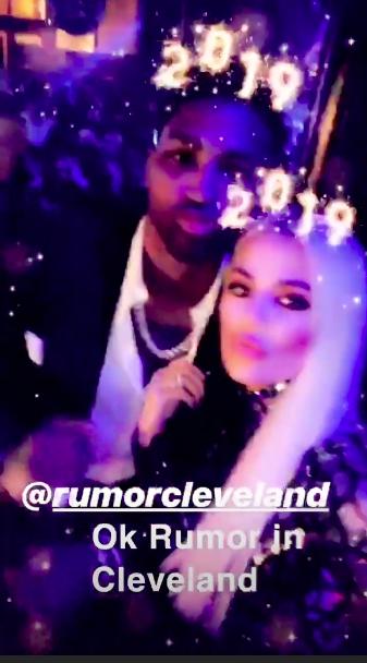 Khloe Kardashian with Tristan Thompson on New Year's Eve