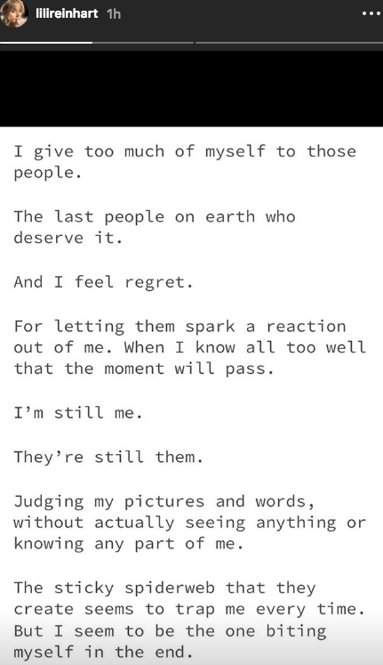 Lili Reinhart instagram apology