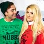 Daryl Sabara, Meghan Trainor, Posing, Christmas Sweaters