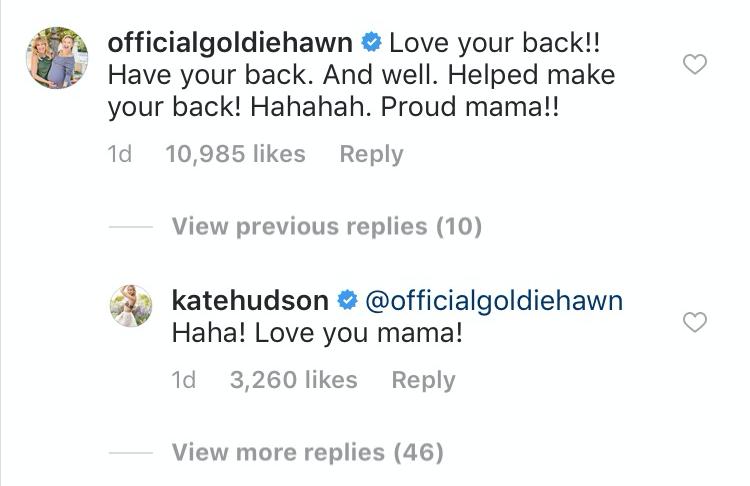 Kate Hudson, Goldie Hawn, Instagram Conversation Screen Shot
