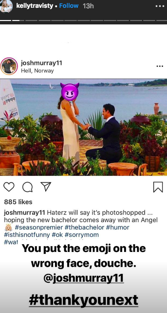 Josh Murray instagram of Andi Dorfman proposal with devil face Kelly Travisty instagram