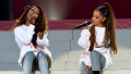 Ariana Grande and Victoria Monet on stage at One Love Manchester