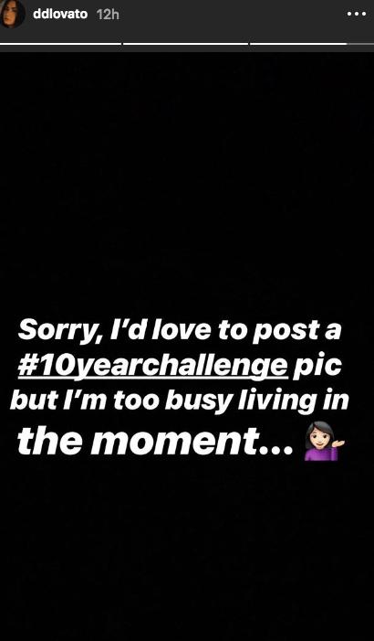 Demi Lovato instagram story 10 year challenge