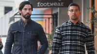 Wilmer Valderrama and Milo Ventimiglia walking side by side in LA