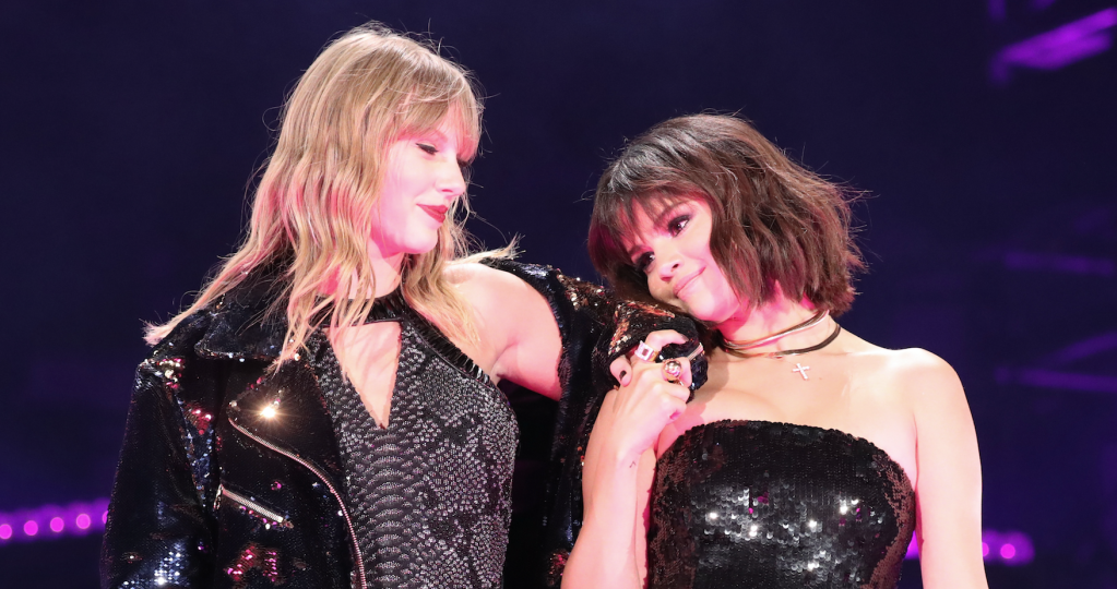 Taylor Swift and Selena Gomez performing on stage during Reputation Tour