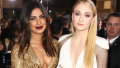 Sophie Turner posing with Priyanka Chopra
